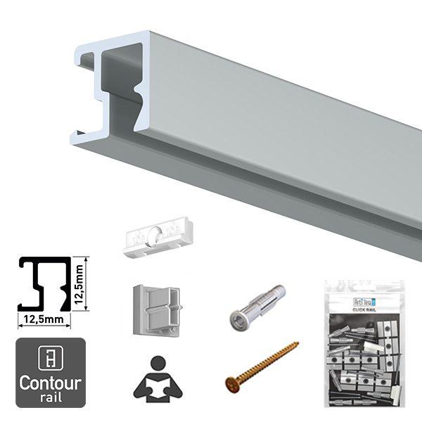 Artiteq Contour Rail + Installation Kit aluminium 2.0m