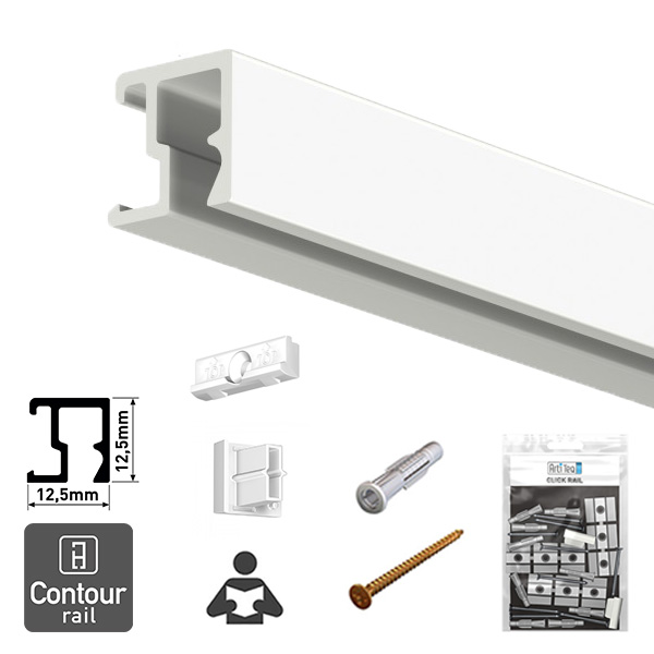 Artiteq Contour Rail + Installation Kit white primer 2.0m
