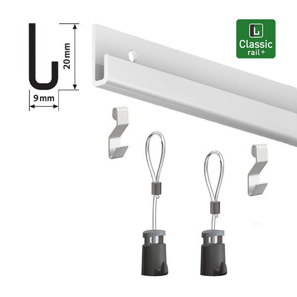 ARTITEQ Classic Rail+ Art Hanging Set aluminium 2.0m