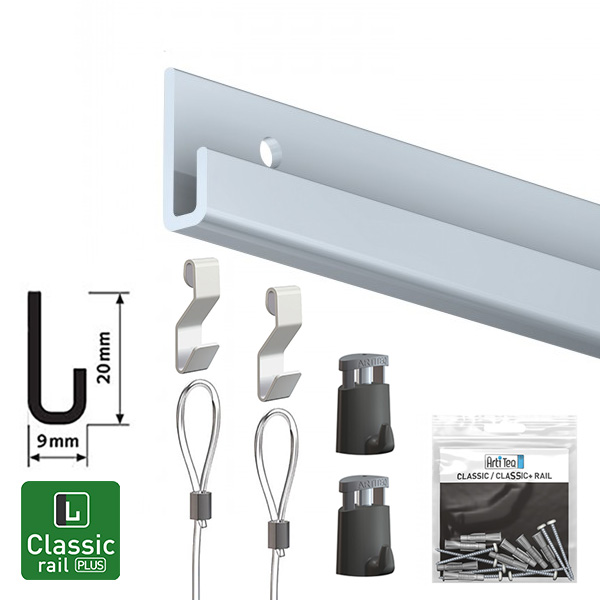 Artiteq Classic Rail Plus Art Hanging Set aluminium 2.0m